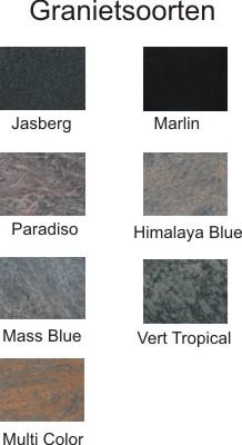 Voorbeeld granietsoorten